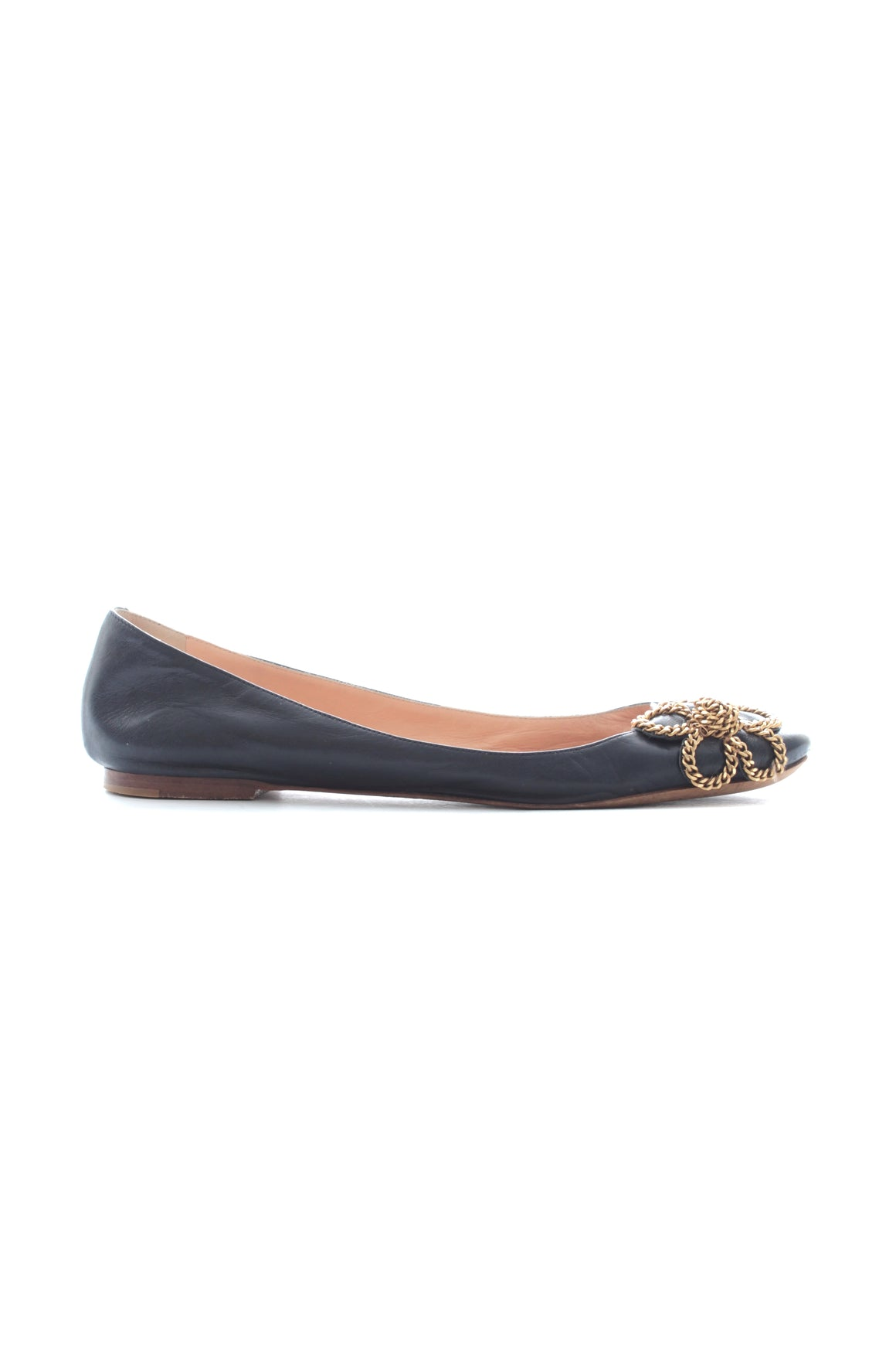 Chloé Chain Flower Leather Ballerina Flats