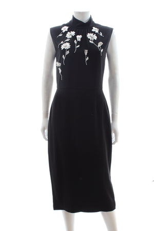 Prada Flower Embellished Crepe Dress