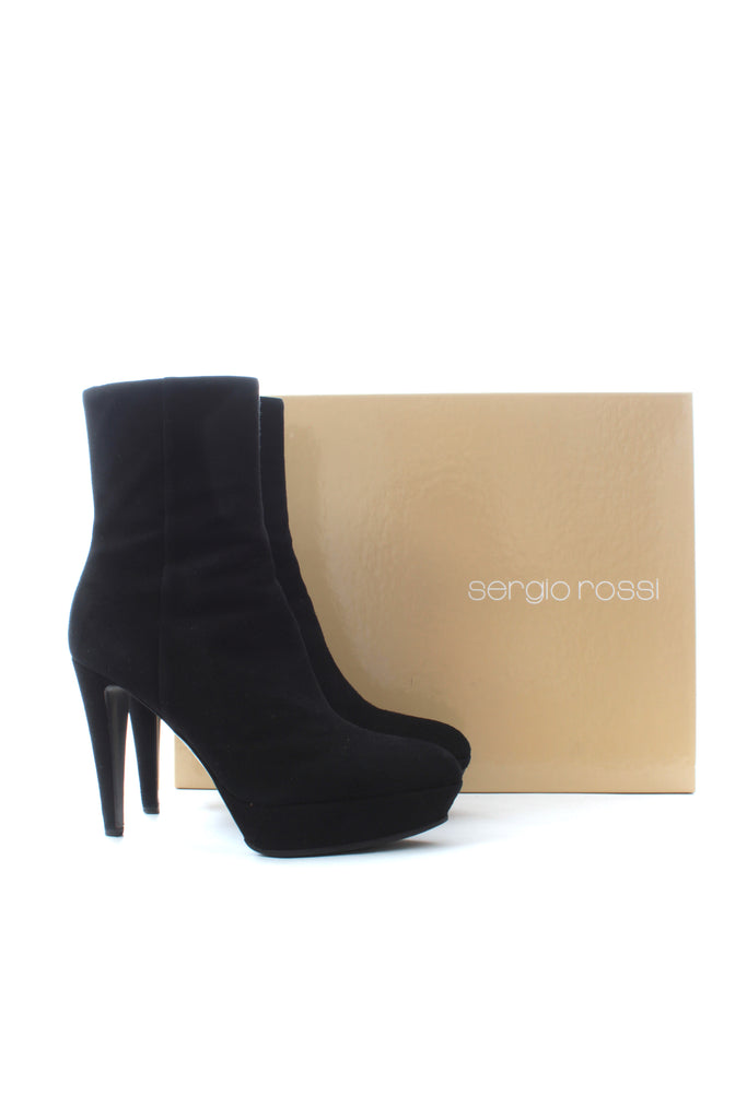 Sergio Rossi Suede Leather Platform Boots