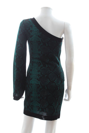 Balmain One Shoulder Snake-Print Knit Dress