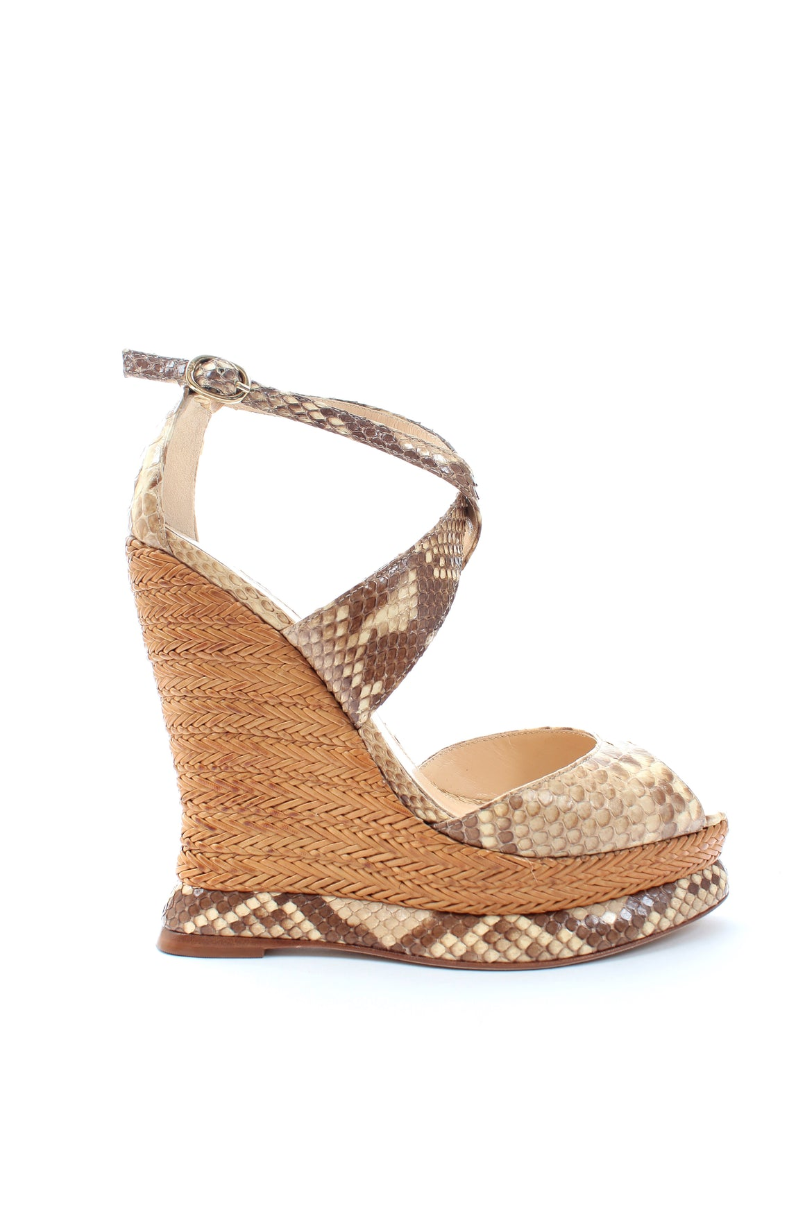 Alexandre Birman Python and Raffia Wedge Sandals