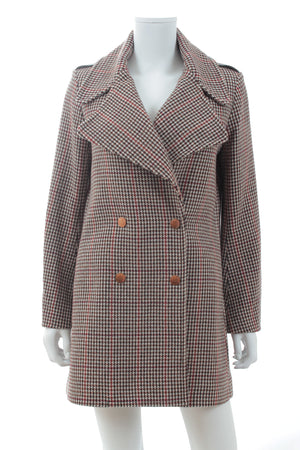 See by Chloe Houndstooth Wool-Blend Double Breasted Coat