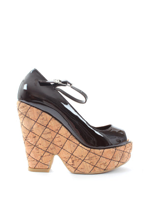 Chanel Patent Leather Quilted Wedge Sandals