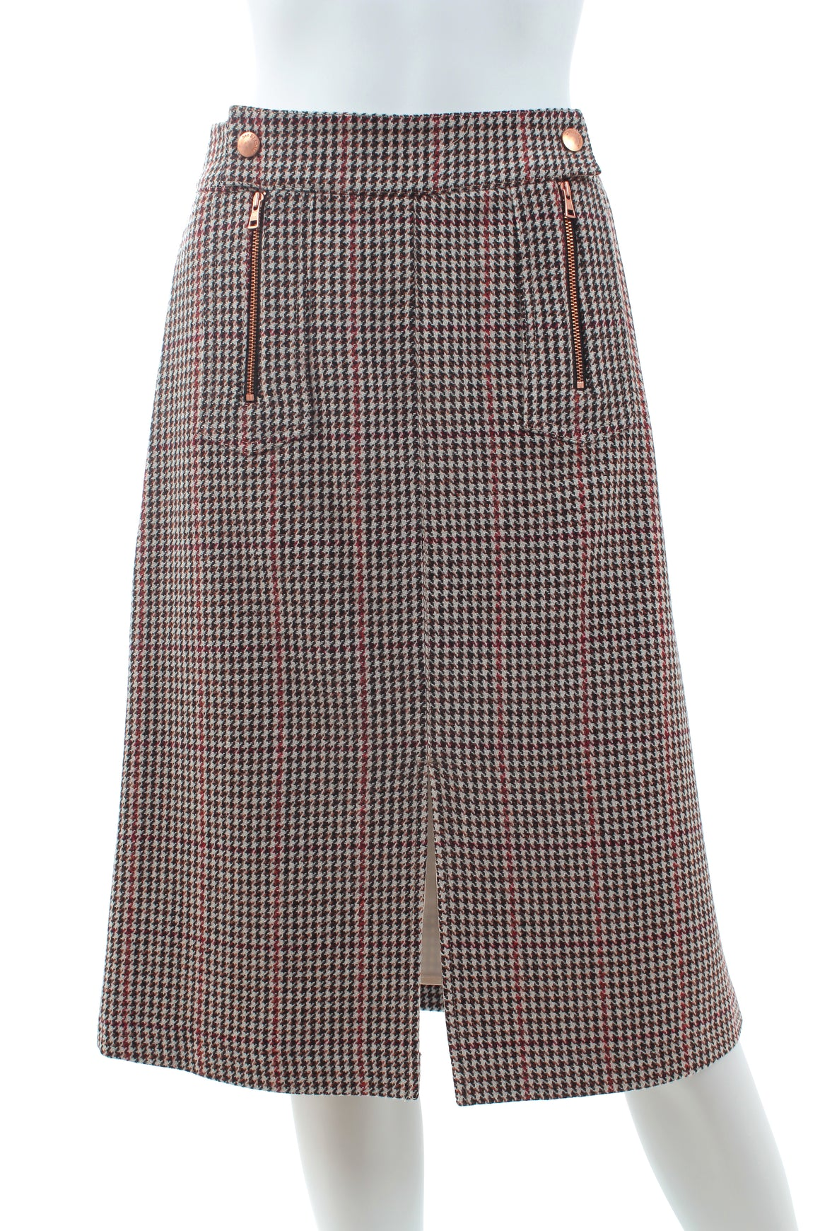 See by Chloe Houndstooth Wool-Blend Mid-Length A-Line Skirt