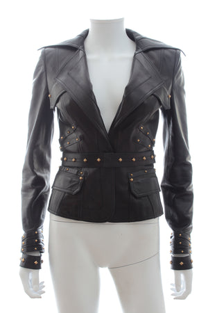 Gucci Stud Embellished Leather Jacket