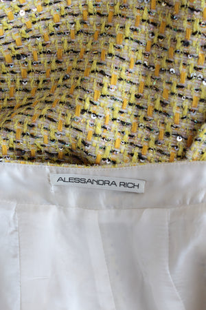 Alessandra Rich Crystal-Embellished Sequin Tweed Mini Skirt - Spring '20 Collection