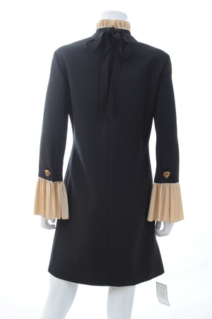 Gucci Pleated Ruffle-Trimmed Military Detailed Wool-Silk Dress