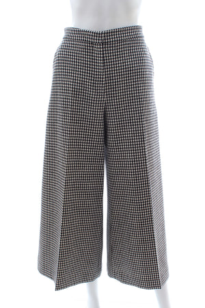 Dior Houndstooth Wool Cropped Wide-Leg Pants - Current Season