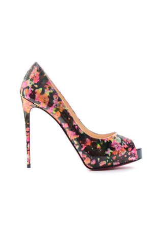 Christian Louboutin New Very Prive 120 Patent Granite Pumps