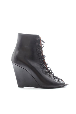Givenchy Open Front Lace Up Leather Wedge Ankle Boots