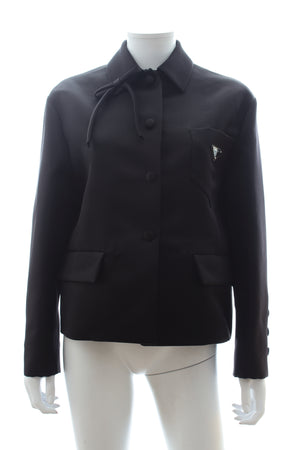 Prada Technical Silk Satin Bow Trimmed Black Jacket (Spring/Summer 2019 Runway)