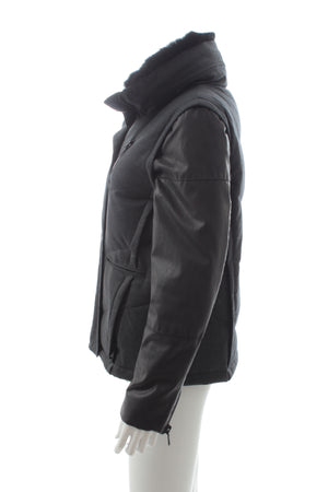The Kooples Down Coat with Detachable Sleeves and Fur Collar