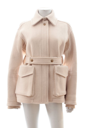 Chloe Leather-Trimmed Belted Wool Coat