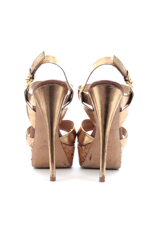 Miu Miu Metallic T-Bar Platform Sandals, Sandals & Beach Shoes, Miu Miu, Closet Upgrade - Closet-Upgrade
