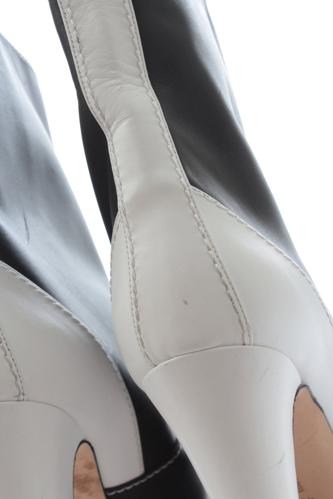 Manolo Blahnik Two-Tone Leather Boots