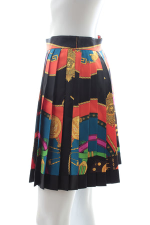 Versace Belt Print Pleated Silk Skirt - Current Season