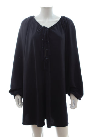 Lanvin Tassel-Tie Washed-Satin Blouse