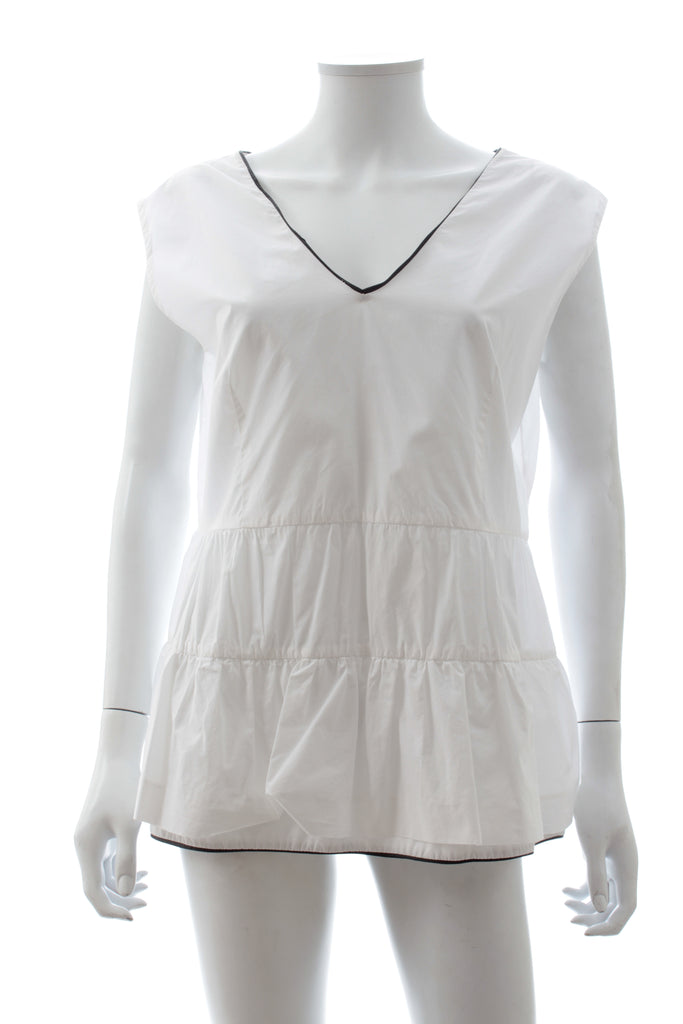 Marni Leather-Trim Cotton Tiered Top