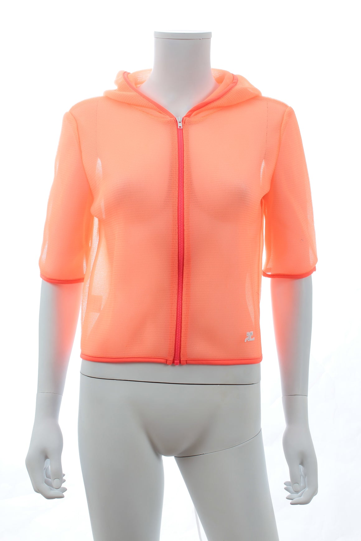 Courrèges Logo Mesh Zippered Hooded Jacket