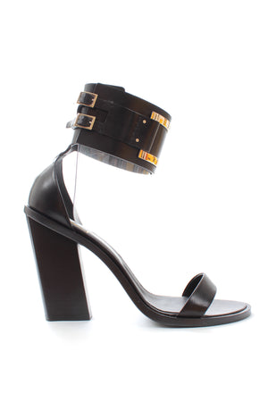 Roger Vivier Gommetine Leather Ankle Strap Sandals