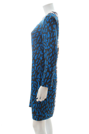 Diane Von Furstenberg Colour Block Leopard Print Cady Dress