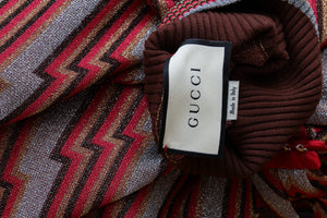 Gucci Metallic Zig-Zag Sweater with Bow Accent