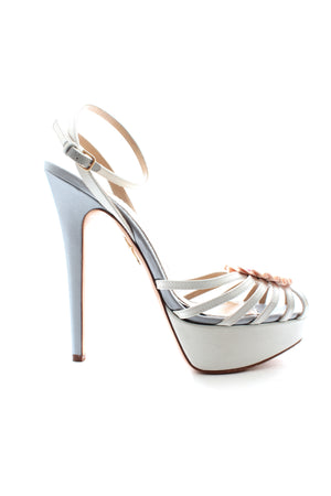 Charlotte Olympia 'Forever' Heart Satin Platform Sandals