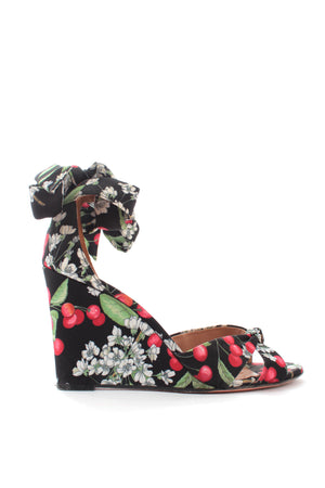 Aquazzura Cherry Blossom All Tied Up Wedge Sandals