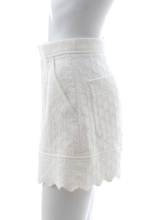 Chloe Scalloped Quilted Cotton Jacquard Shorts - Current Season