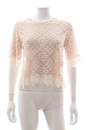 Sandro Short Sleeved Lace Embroidered Top