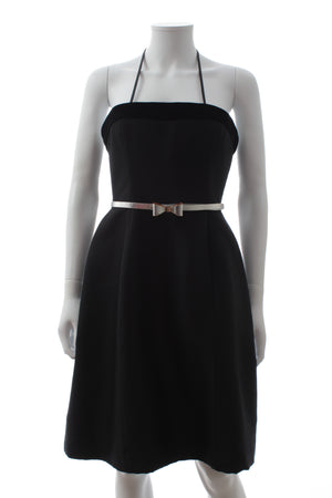 Oscar de la Renta Belted Velvet-Trim Dress