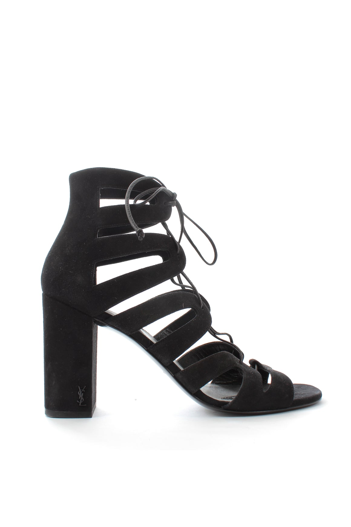 Saint Laurent Babies Lace Up Suede Sandals