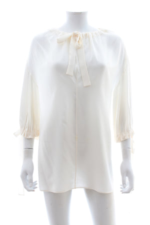 Prada Silk Tie-Neck Blouse