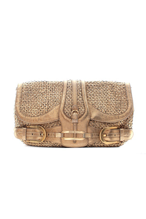 Jimmy Choo 'Troy' Metallic Woven Leather Clutch Bag
