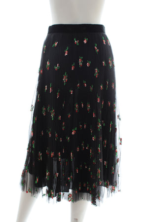Philosophy di Lorenzo Serafini Floral Embroidered Pleated Tulle Midi Skirt
