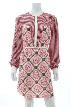 Mary Katrantzou Lace-Up Silk Printed Shirtdress