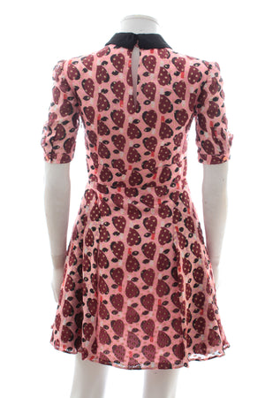 Miu Miu Pear Print Metallic Silk-Blend Dress