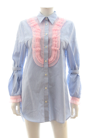 Prada Ruffle-Trimmed Striped Shirt