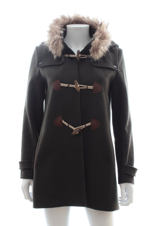 Sandro Wool-Blend Duffle Coat with Fur Trim