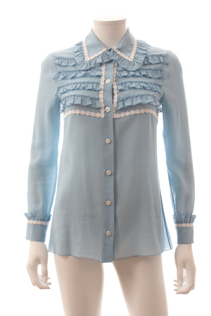 Gucci Embroidered Ruffled Cotton-Silk Blouse