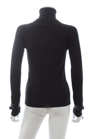 Alexander McQueen Leather Padlock-Cuff Wool-Silk Sweater