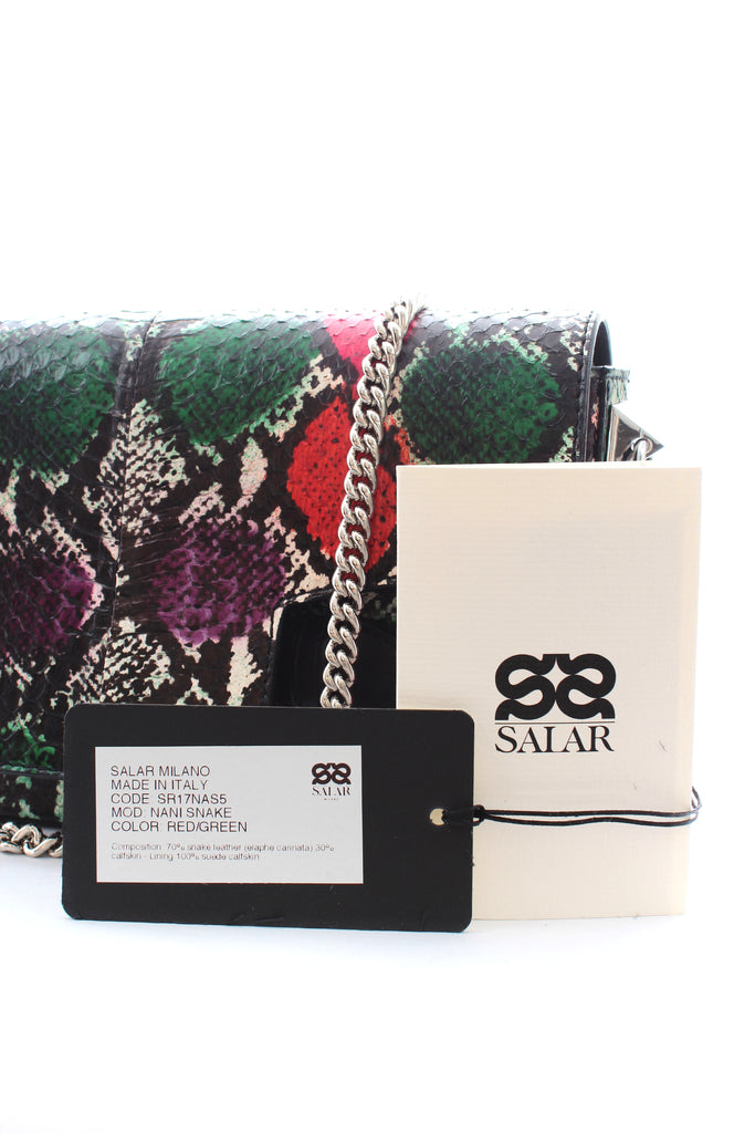 Salar 'Nani' Snakeskin Clutch Bag with Chain Strap