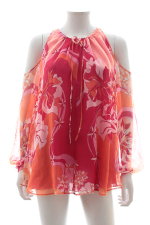 Emilio Pucci Cold Shoulder Silk Chiffon Top
