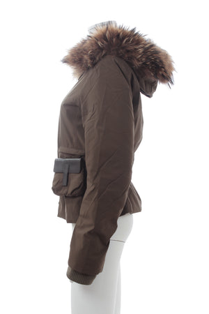 Prada Goretex Fur-Trimmed Hooded Padded Coat with Pocket Belt