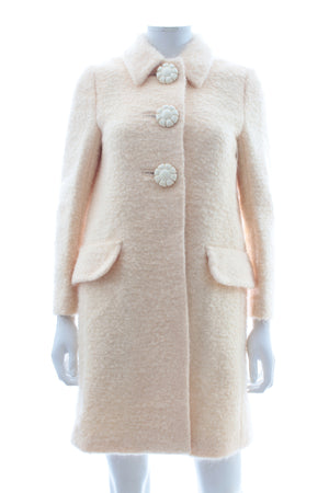 Miu Miu Felted Bouclé Coat with Flower Buttons
