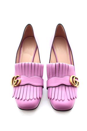 Gucci Marmont Mid-Heel Leather Pumps