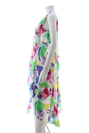 Balenciaga Draped Watercolour Print Silk-Satin Dress
