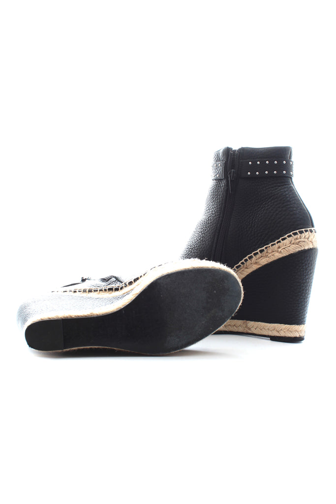 Givenchy Stud-Embellished Leather Espadrille Wedge Boots