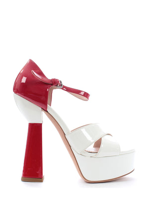 Miu Miu Two-Tone Patent Leather Platform Sandals