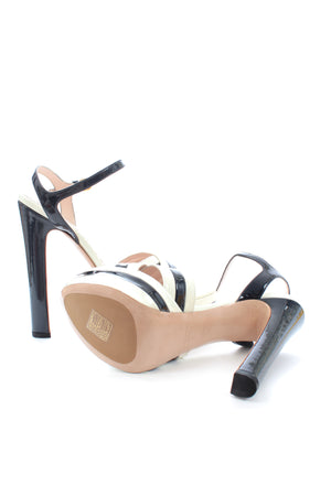Miu Miu Striped Patent Leather Platform Sandals